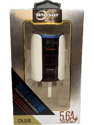 USB Fast Charger Plug 9V/5V 5.6 Amp Triple USB OUTPUT