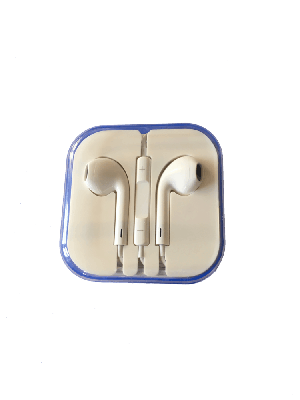 Apple style earphones white (budget) - Polycarbonate Clear Package - 10 Pack