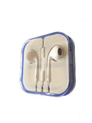 Apple style earphones white High Quality - Polycarbonate Clear Package