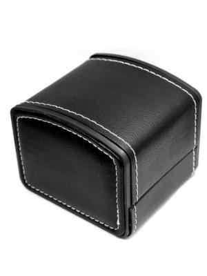Watch Box - Black Faux Leather watch box with Stiching